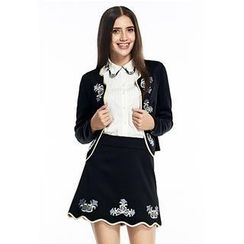 O.SA - Set: Embroidered Jacket + Skirt