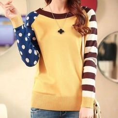 anzoveve - Dot and Stripe Sleeve Knit Top