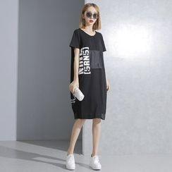 Sonne - 寬鬆貼布字母短袖連衣裙