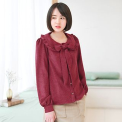11.STREET - Long-Sleeve Collared Corduroy Top