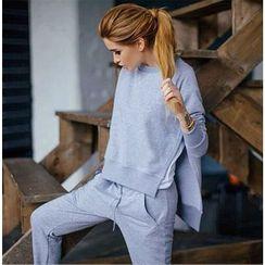 Saranghae - Set: Slit Sweatshirt + Sweatpants