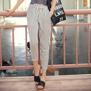 MISS BIG - High-Waist Striped Harem Pants