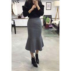 OZNARA - Wool Blend Mermaid Midi Skirt