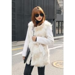 REDOPIN - Faux-Fur Tied-Waist Jacket