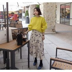 Miamasvin - Flower Patterned Long Skirt