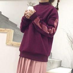 Dute - Velvet Trim Mock Neck Pullover