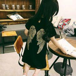 Airuyi - 童裝翅膀刺繡T恤/T恤連衣裙