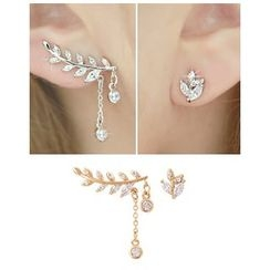 Miss21 Korea - Rhinestone Leaf-Motif Asymmetric Earrings