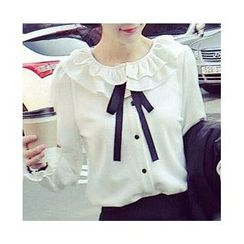 Raisin - Ruffle Collar Chiffon Shirt