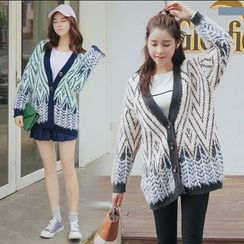 Pecora - Patterned V-Neck Long Cardigan