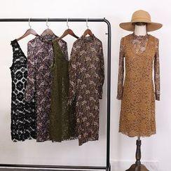 Clementine - 套装: 印花长袖连衣裙 + 针织背心裙
