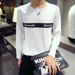 Alvicio - Letter Colour Block Long-Sleeve T-shirt