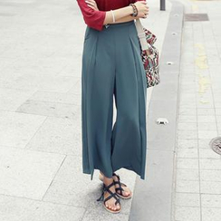REDOPIN - Pleat-Front Wide-Leg Pants