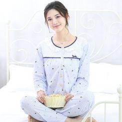 Kream - 家居服套裝:哺乳上衣 + 印花褲