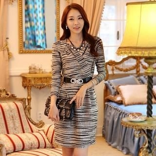 Styleonme - Wrap Front Patterned Sheath Dress