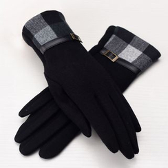 RGLT Scarves - Plaid-Panel Buckled Gloves