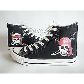 HVBAO - 'Skull' High-Top Canvas Sneakers