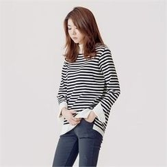 MAGJAY - Monk-Neck Striped Knit Top