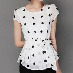 Hazie - Dotted Short-Sleeve Chiffon Top