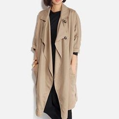 Smile.Hotel - Ruffle-Front Trench Coat