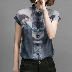 Elinor - Cap-Sleeve Print Chiffon Blouse