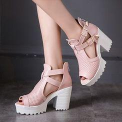 Megan - Chunky-Heel Buckled Sandals