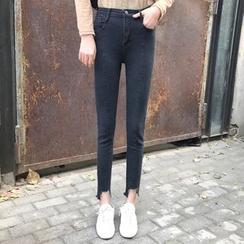 Dute - 散邊窄身牛仔褲