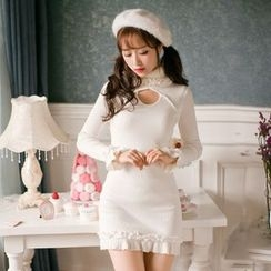 Candy Rain - Long-Sleeve Cut Out Sheath Dress