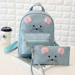 Merlain - Set: Mouse Faux Leather Backpack + Wristlet