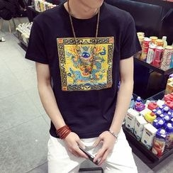 Seoul Boy - Dragon Embroidered Short Sleeve T-Shirt