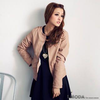 OrangeBear - Fleece-Lined Faux-Leather Zip Jacket