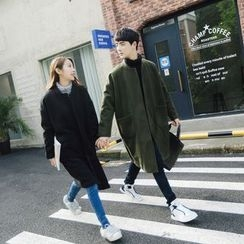 Simpair - Couple Matching Pocketed Long Woolen Coat