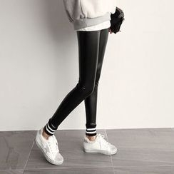 NIPONJJUYA - Contrast-Trim Faux-Leather Leggings