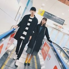 Simpair - Couple Matching Letter Applique Long Woolen Coat