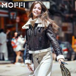 MOFFI - Fleece Lined Faux Leather Jacket