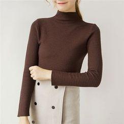 Honey House - Plain Mock Neck Long Sleeve Knit Top