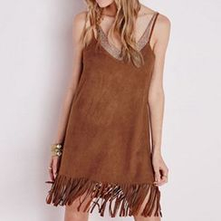 Eloqueen - Fringed Sleeveless Dress