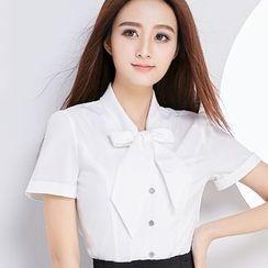 Eferu - 短袖蝴蝶结领衬衫