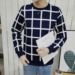 Chic Maison - Long-Sleeve Check Fleece-Lined Top