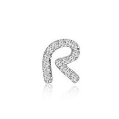 MBLife.com - Left Right Accessory - 9K White Gold Initial 'R' Pave Diamond Single Stud Earring (0.04cttw)