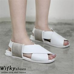Wifky - Faux-Leather Cross-Strap Sandals