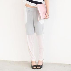 59 Seconds - Mesh Overlay Harem Pants