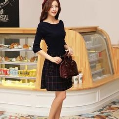 AiSun - Set: Elbow-Sleeve Knit Top + Check Double-Breasted A-Line Skirt