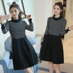 EFO - Long-Sleeve Stripe-Paneled Dress