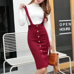 Fashion Street - Button Down Midi Suspender Skirt