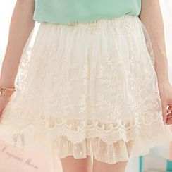 Tokyo Fashion - Mesh-Hem Embroidered Lace A-Line Skirt