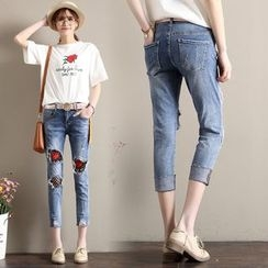 Supernova - Ripped Embroidered Cropped Jeans