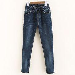 Mocha - Fleece Lined Slim Fit Jeans