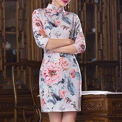 Bridal Workshop - Floral Print 3/4-Sleeve Qipao