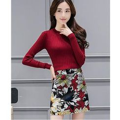 Yinaike - Set: Long Sleeve Knit Top + Floral Print A-Line Skirt